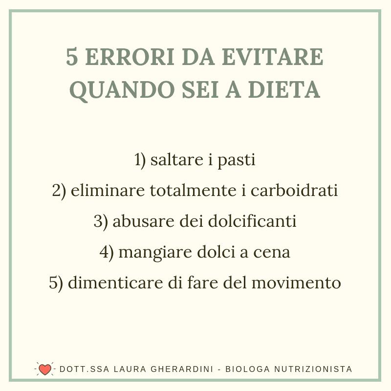 5 ERRORI DA EVITARE QUANDO SEI A DIETA